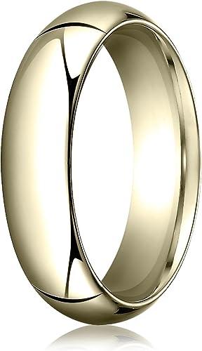 Mens 14K Yellow Gold 6mm Slim Profile Comfort Fit Wedding Band Ring