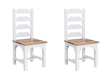 Woodkings 2x Holzstuhl Perth Esszimmerstuhl Holz Weiß Recycelte Hölzer Bunt Vintage Optik Mit Rückenlehne Designstuhl Küchenstuhl 2er Set