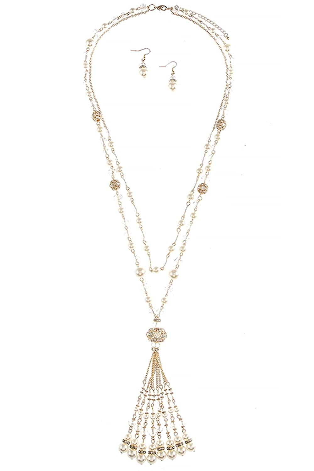 KARMAS CANVAS CRYSTAL AND PEARL BEADED TASSLE NECKLACE SET