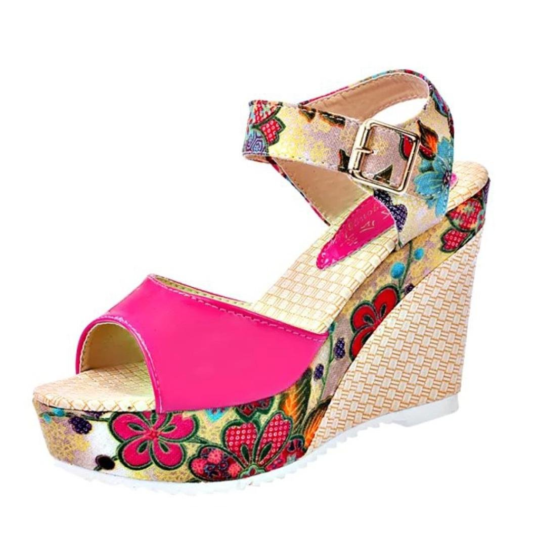 IEason-shoes Clearance Women Fish Mouth Platform High Heels Wedge Lace National Style Slope Sandals (6, Hot Pink)