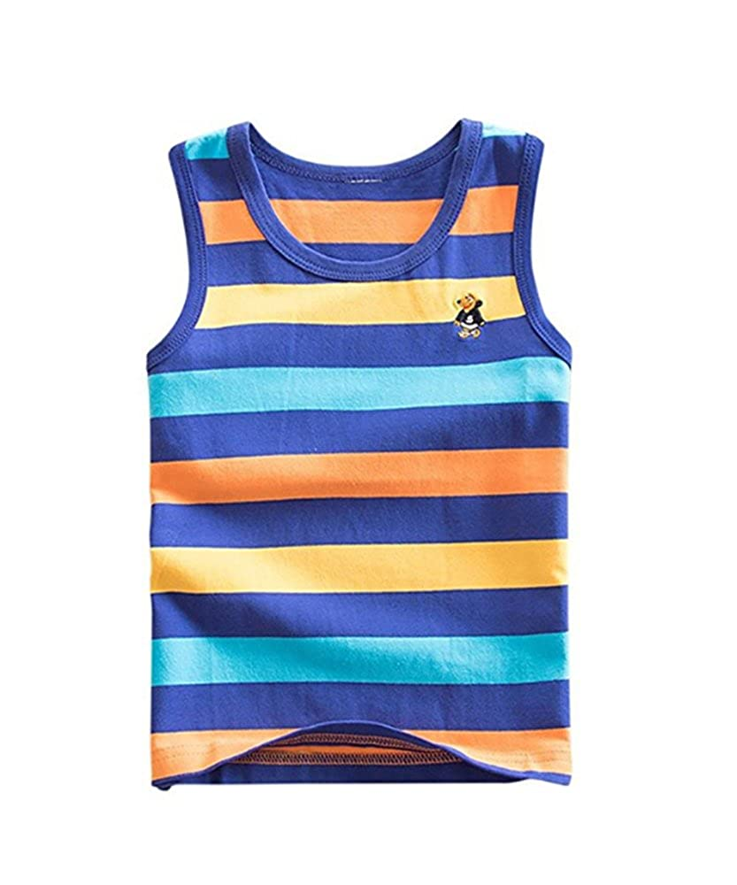 huateng Summer Vest Child Boy Girl T-Shirt Canotta Senza Maniche Abito a Righe 3-7 Anni