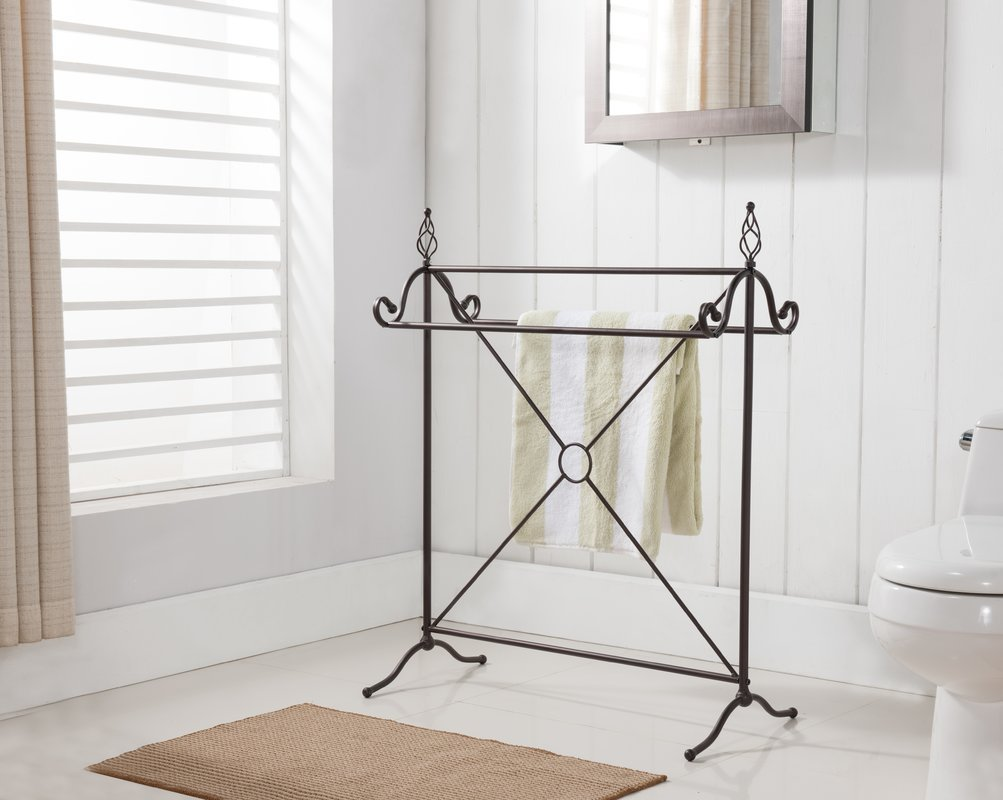 Quilt Rack Free Standing In Bronze Color Made of Metal With Stylish Design Will Help You Organize Your Bedroom by eCom Fortune