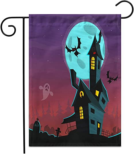 Adowyee 12 X 18 Garden Flag Bat Cartoon Scary Haunted House Halloween Black Mansion Castle Outdoor Double Sided Decorative House Yard Flags Amazon Ca Patio Lawn Garden