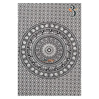 Aakriti Gallery Black and White Twin Tapestry Hippie Wall Hanging Art Decor Single Mandala Tapestry Hippie Dorm 84X55 inches