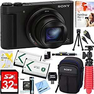 Sony Cyber-shot HX80 Compact Digital Camera with 30x Optical Zoom (Black) + 32GB SDXC Memory Dual Battery Kit + Accessory Bundle