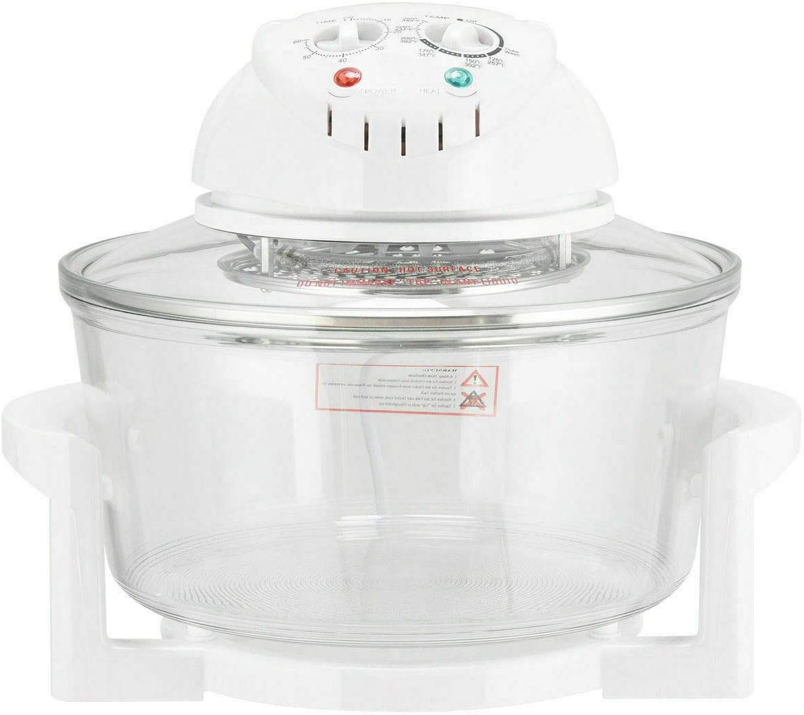 Cypress Shop Convection Halogen Oven Cooker Infrared Turbo Cooking Glass Bowl 1300 Watt 12.68-18 Quart For Roast Bake Broil Stream Fry Food Kitchen Tools Utensil Tools Safe Clean Home Stuffs