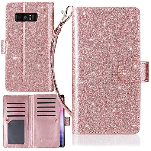 Galaxy Note 8 Case, Karidge Glitter PU Leather Flip Folio Wallet Case with Magnetic Closure 9 ID&Credit Card Slot and [Wrist Strap] & [Kickstand Feature] Protective Case for Samsung Note 8, Rose Gold