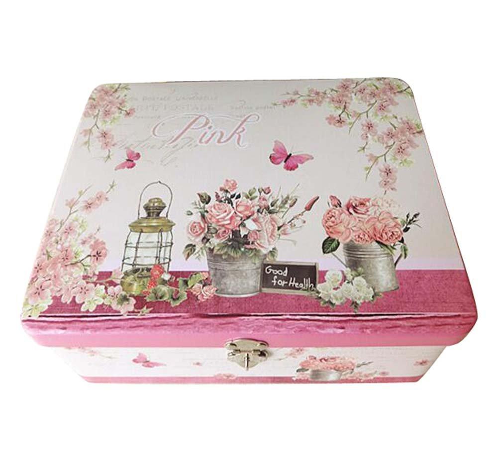 Small Fresh Safe Lock Box Storage/Jewelry Box Desktop Iron Box-Pink