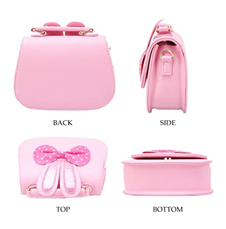 0b300c026bc8 Amazon.com  CC ONE Little Girls Crossbody Purse for Kids - Toddler PU  Leather Mini Cute Handbags Shoulder Bag(Rabbit Bowknot Pink Blue)  Toys    Games