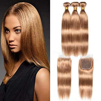 Wome #27 Peruvian Straight Hair With Closure Honey Blonde Color Human Hair Weave 3 Bundles With 4x4 Lace Closure Non Remy Hair Human Hair Weaves 3/4 Bundles With Closure