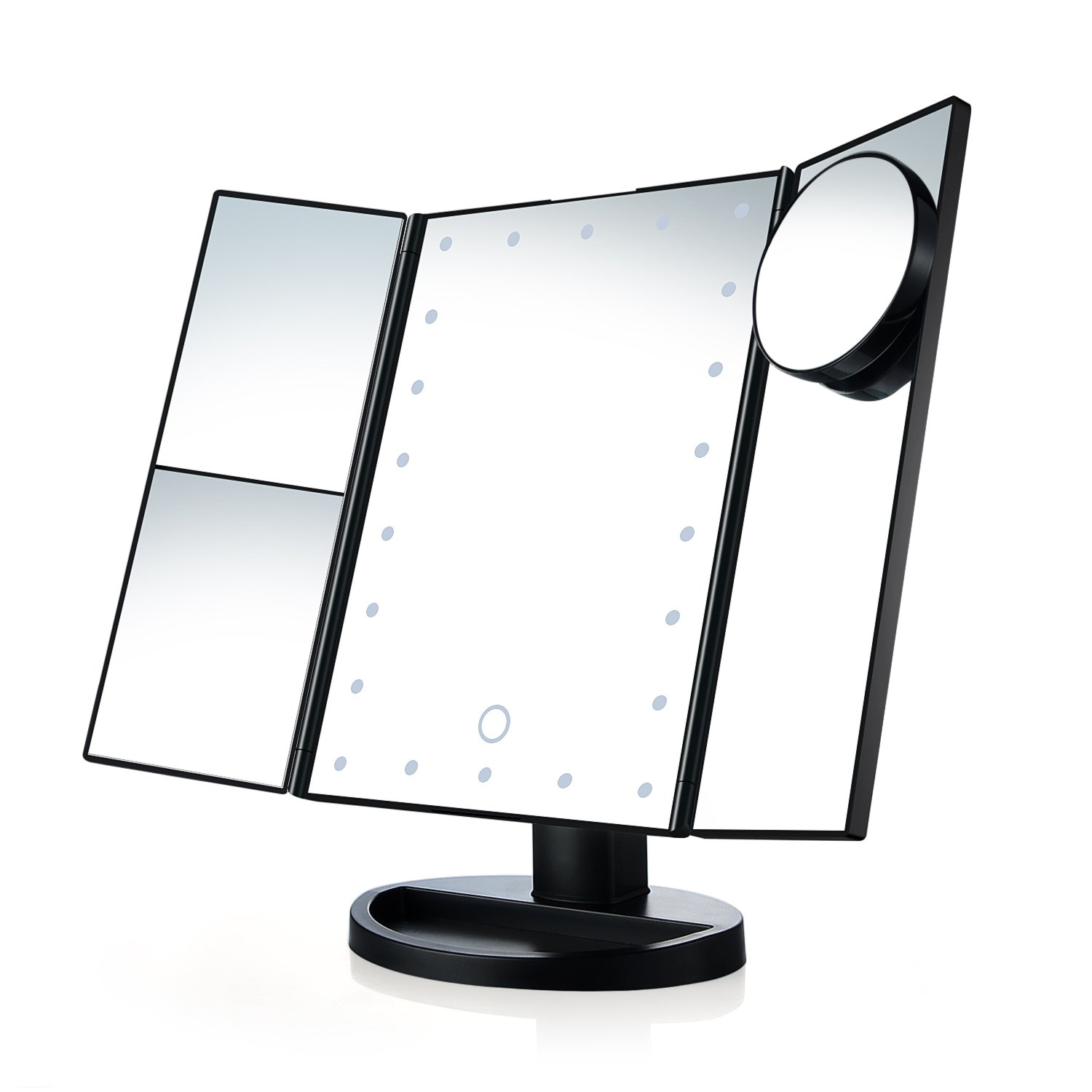 Makeup Mirror Desktop Stand with Touch Control Screen 22 LED Light 10X Magnifier (White) Zebery®