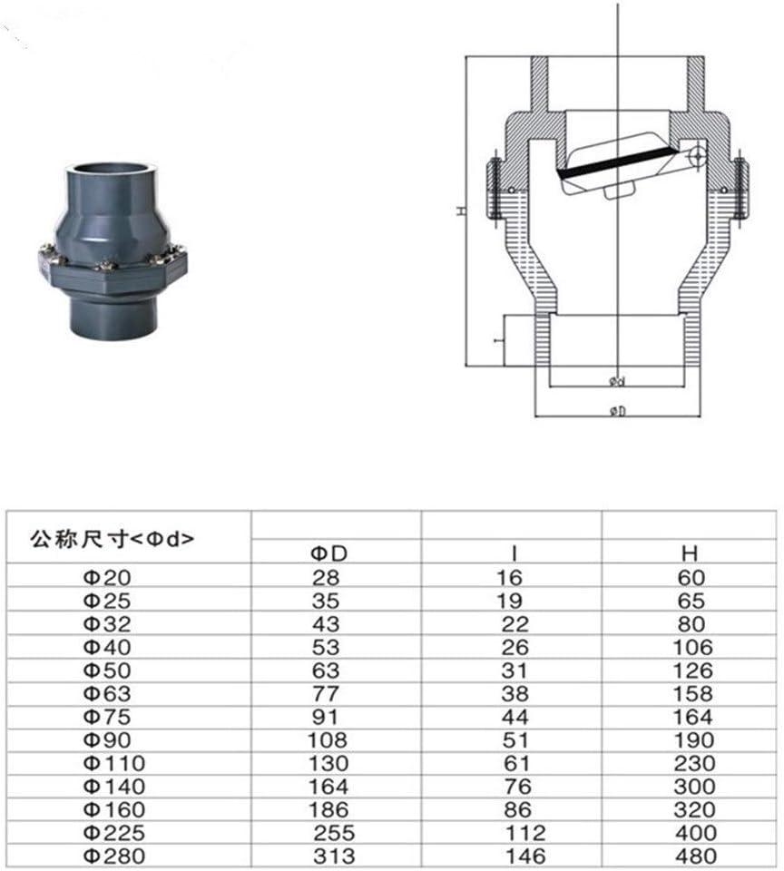 SUOFEILAIMU-VALVES 1pcs UPVC Non-Return Flap Valve One-Way Valve Plastic Flap Check Valve 25-160MM Inner Diameter Vertical Lie General Specification : Inner 63mm