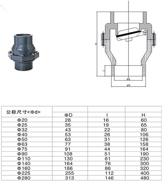 Specification : Inner 63mm SUOFEILAIMU-VALVES 1pcs UPVC Non-Return Flap Valve One-Way Valve Plastic Flap Check Valve 25-160MM Inner Diameter Vertical Lie General