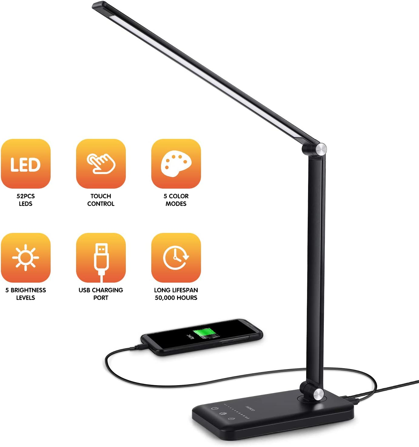 LED Desk Lamp - Dimmable Table Lamp with Eye-Caring of 5 Color Modes and 5 Brightness Levels, LED Office Lamp with USB Charging Port, Timer/Memory Function Lamp for Working, Reading, Sleeping