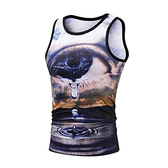 ecdc251a KPILP Men's Tank Top 3D Printing Pattern Fitness Muscle Singlet T-Shirt  Sweatshirt: Amazon.co.uk: Clothing