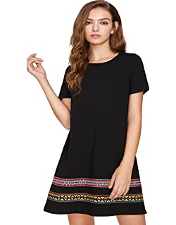Romwe Women s Comfy Swing Tunic Short Sleeve Boho Embroidered Hem Loose  Casual T-Shirt Dress 94bf7624e