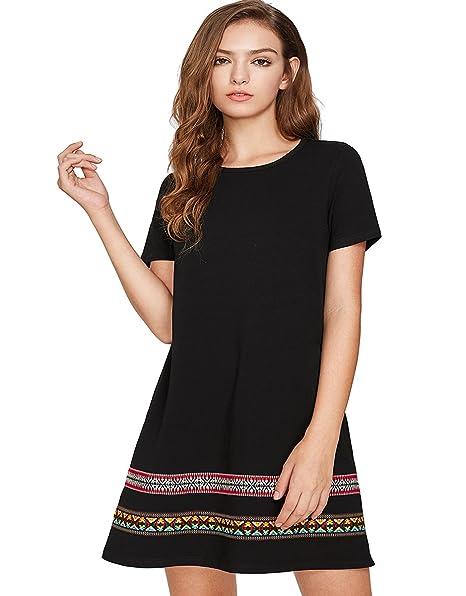 9e2cd14d30 Romwe Women s Comfy Swing Tunic Short Sleeve Boho Embroidered Hem Loose Casual  T-Shirt Dress