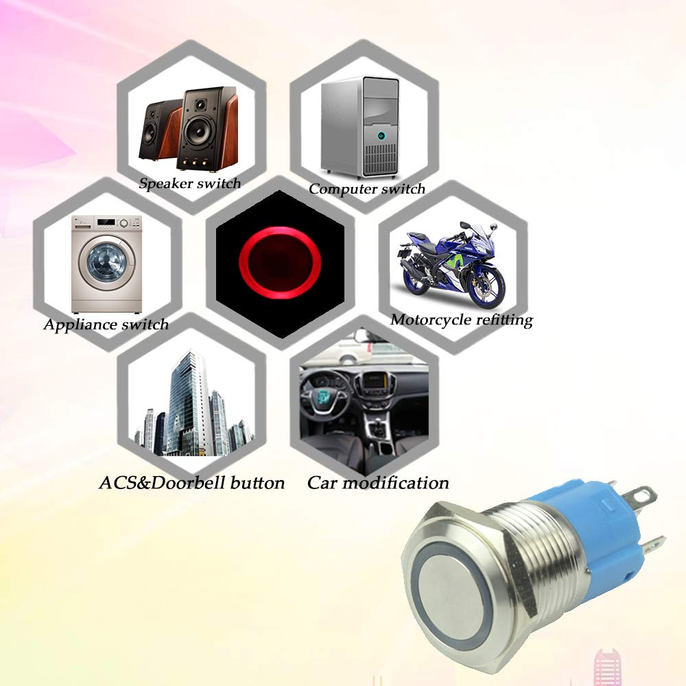 SENZEAL Momentary Push Button Switch Stainless Steel 12V 16mm Angel Eye LED Light with Socket Plug White