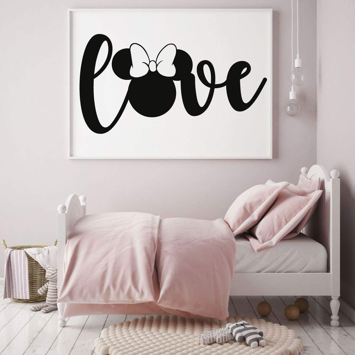 Minnie Mouse Wall Decal - Disney Wall Decal - Vinyl Decor for Bedroom or Playroom – Vinyl Lettering 'Love'