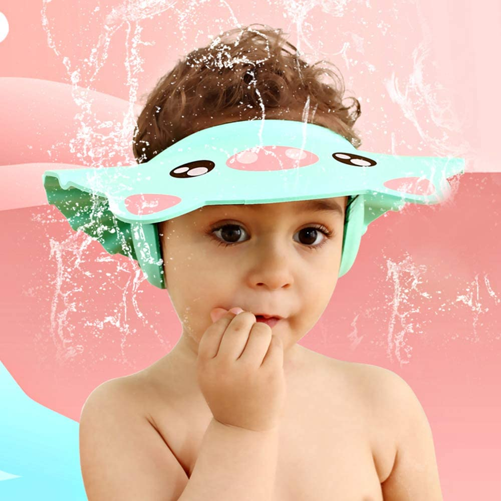 vert clair, rose Kitchen-dream Bonnet de douche bebe,2pcs capuchons imperm/éables r/églables de shampooing de b/éb/é,chapeau de protection de douche denfants Earflap pour le soin denfant bas /âge