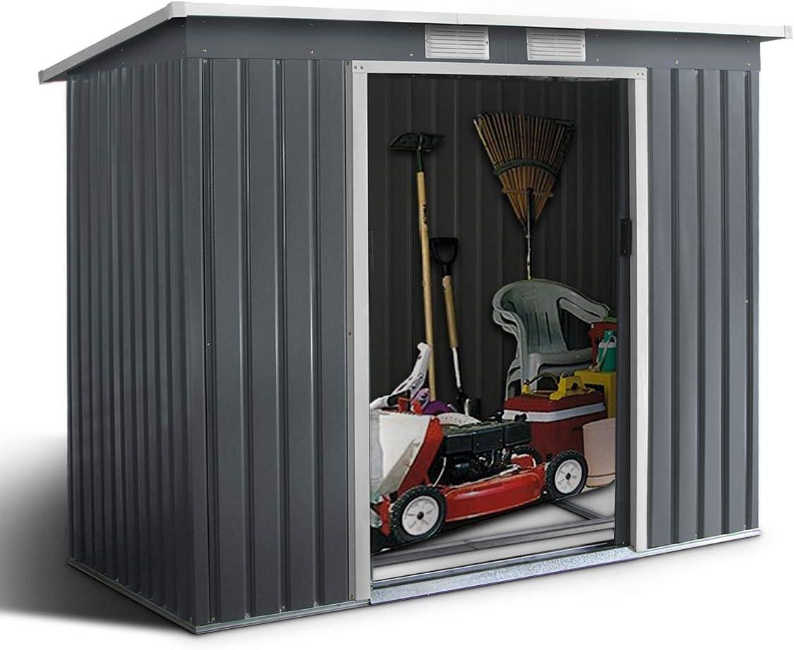 Goplus - Cobertizo de jardín con puertas de metal correderas, para jardín con ventanas, almacenamiento para bicicleta, herramientas de jardinería, instalación fácil, 213 x 130 x 173 cm, color gris: Amazon.es: Jardín