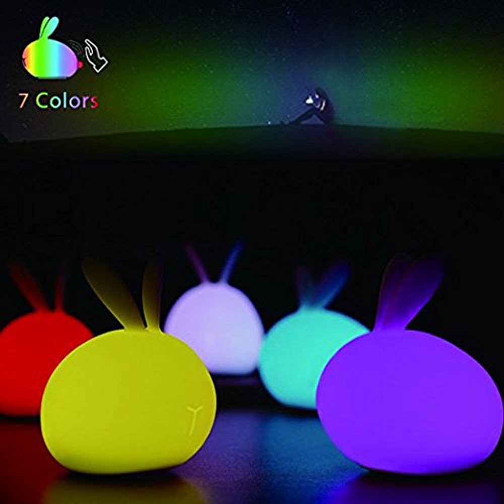 LED Rabbit Night Light - Soft Silicone Cute Rabbit Bunny Lamp with 7 Colors USB Chargeable for Baby kids Children Home Bedroom For Birthday, Christmas, Housewarming, Graduation, Wedding or Gift