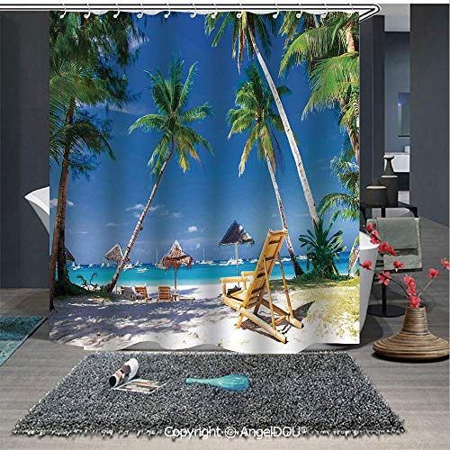 AngelDOU Seaside Waterproof 3D Printed Shower Curtain Sun Bed Under Palm Trees Tropical Oceanside in Boracay Island Image Print for Home Bathroom Decoration]()