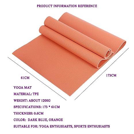 Ruosai Azul Marino, Naranja -PVC Estera de Yoga para ...