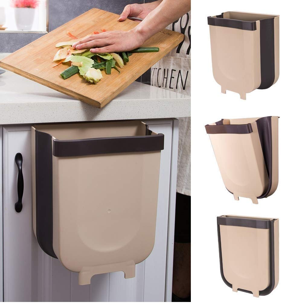 8L Collapsible Trash Bin,Kitchen Cabinet Door Hanging Trash Garbage Bin Can Rubbish Container,Attached to Cabinet Door Kitchen Drawer Car Bedroom Dorm Room (Brown-Black) by Zakball