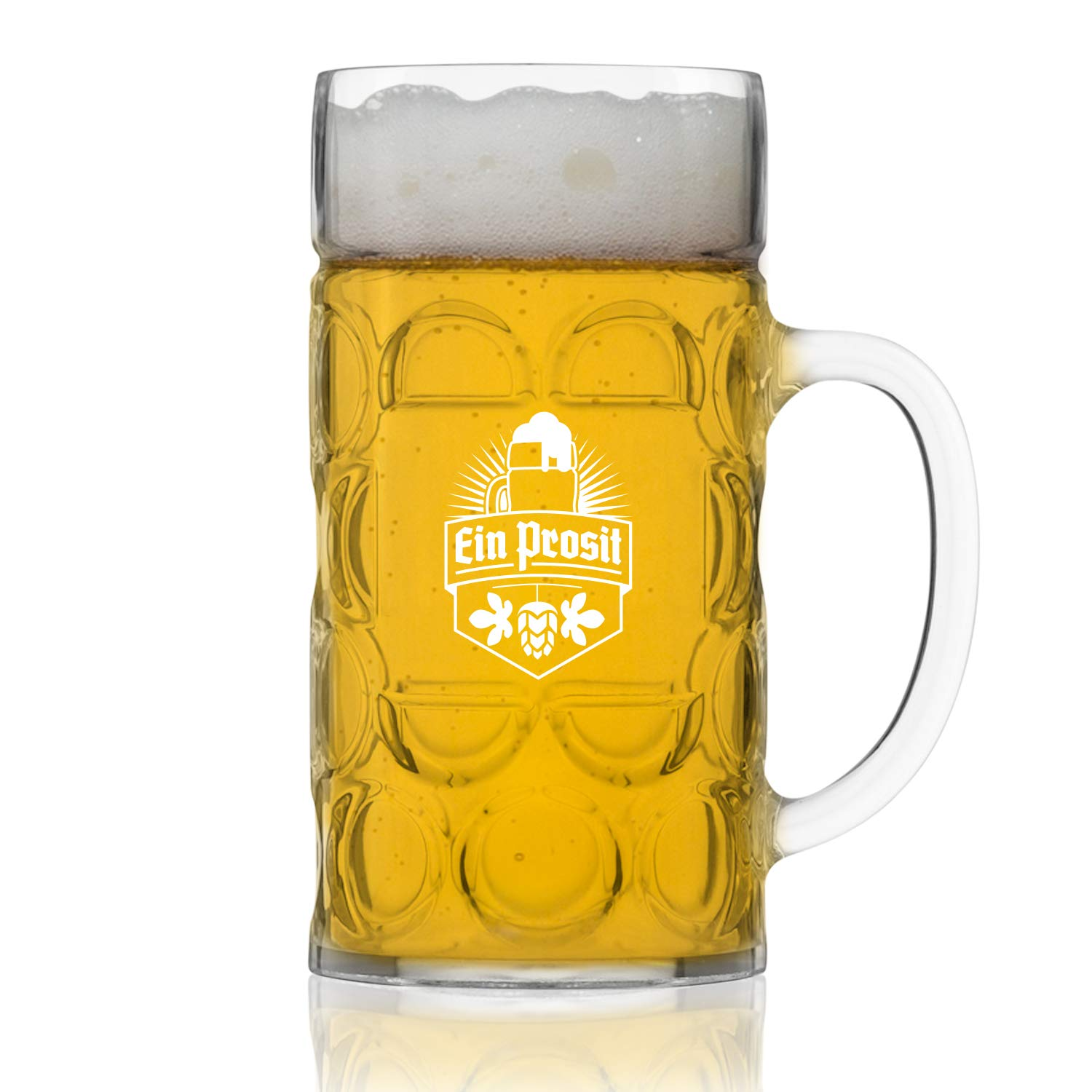 Unbreakable 1L Oktoberfest German Beer Mug with Handle (44 oz.) Classic Stein with Dimpled Finish- Vintage Party Brew Tankard- Thick, Durable Styrene- Made in USA