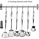 Elegant Life Stainless Steel Kitchen Utensil Set - 7 Cooking Utensils with 6 Hooks Rack- Nonstick Kitchen Utensils Cookware Set with Spatula - Heat Resistant Kitchen Gadgets Tools for Gift