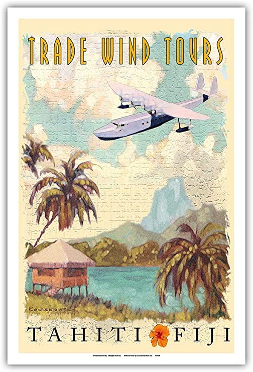 Amazon Com Pacifica Island Art Tahiti Fiji Islands Trade Wind Tours Vintage Travel Poster By Wade Koniakowsky Master Art Print 12in X 18in Posters Prints