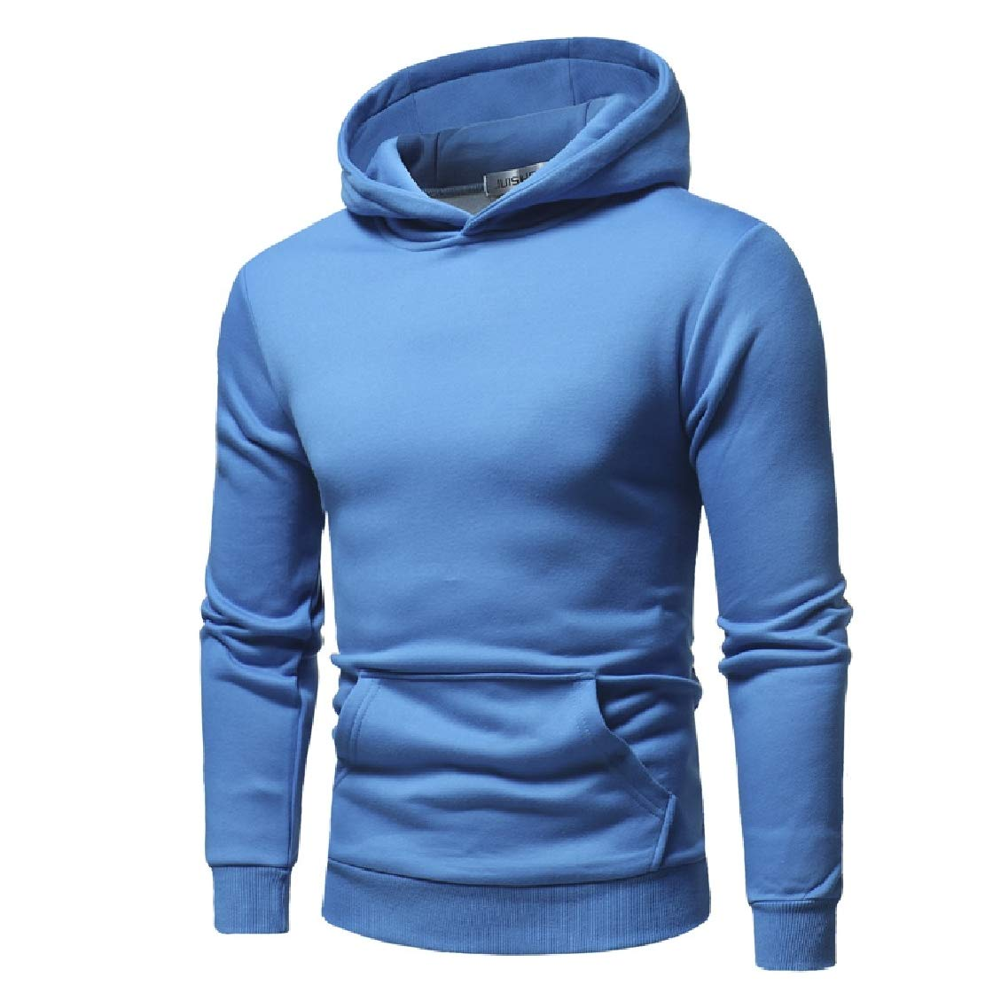 YUNY Men Pullover Long Sleeve Hood Plus Velvet Fall Winter Solid Color Tracksuit Top Blue M
