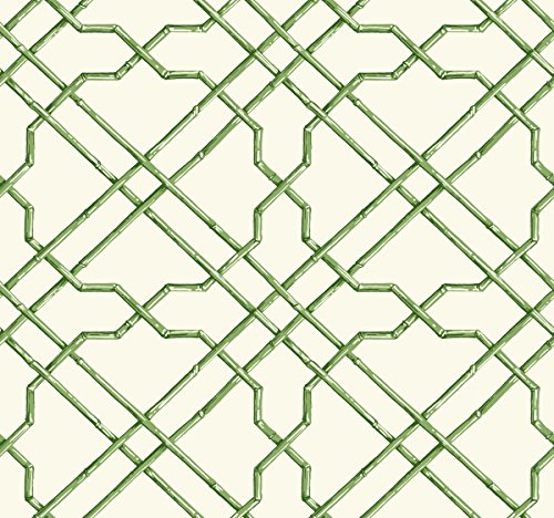 York Wallcoverings Tropics Bamboo Trellis Removable Wallpaper, White, Mediu Green, Dark Green