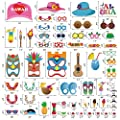 60pcs Luau Photo Booth Props - Hawaiian/Tropical/Tiki/Summer Pool Party Decorations Supplies from Moon Boat