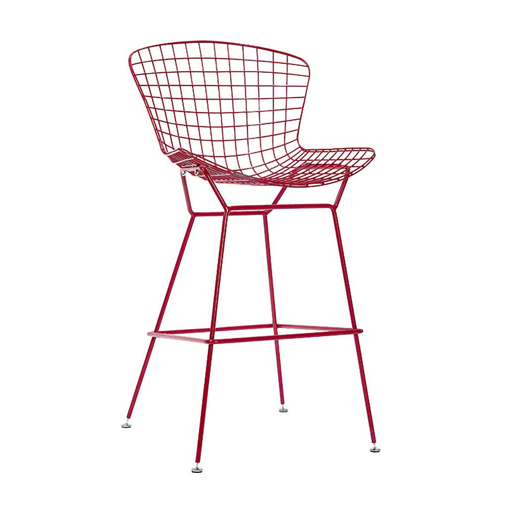 Red QianLiJiaJi Bar Stool-Modern Minimalist Industrial Bar Stool High Chair Backrest Counter Stool High Bar Counter Metal Modern bar Chair (color   Red)