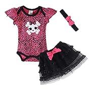 LittleSpring Baby Girls Bodysuit Skirt Sets Skull Size 6M Skull