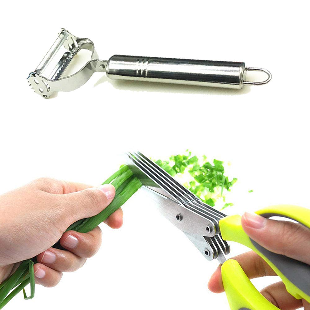 Herb Scissors Stainless Steel with 5 Blades and Cleaning Comb and 4-in-1 Rotational Vegetable Peeler