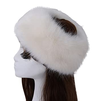 Image Unavailable. Image not available for. Color  Women s Luxurious Faux  Fur Headband Elastic Warm Earmuff Snow Headwrap Hat Beige b325975c6ee9