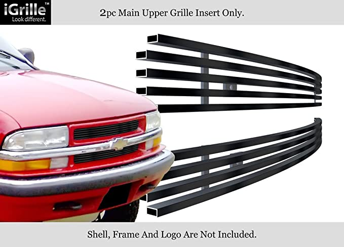 Fits 1998-2005 Chevy Blazer/S-10 Criss Cross Black Stainless Steel Billet Grill #C65705J