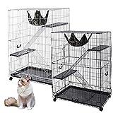 Yescom 51''x36''x22'' Large Cat Pets Wire Cage 2 Door Playpen w/ Hammock 2 Ramp Ladders (White Vein)