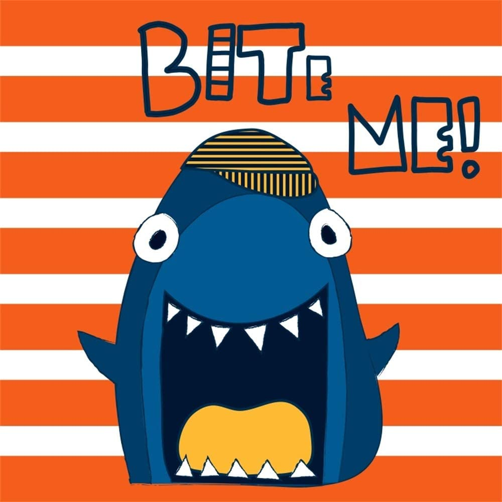 AOFOTO 10x10ft Bite Me Cartoon Shark Backdrop Orange and White Stripes Background for Photography Kid Baby Boy Birthday Party Events Decor Baby Shower Photo Booth Props Vinyl