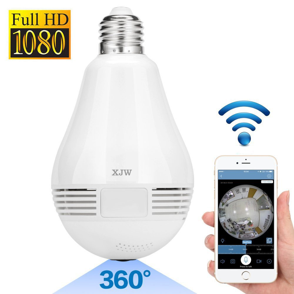 XJW 2017 New 360 Degree Smart LED Bulb 1080P HD WiFi IP Security Network Dome Camera For Home Surveillance, Fisheye 360° Indoor Dome With Night Vision Motion Detection 2-Way talking by XJW