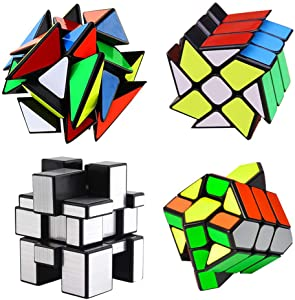 4-Pack YJ Cube Set - Included 3x3 YJ Fluctuation Angle Puzzle Cube - 2x3 YJ Wheel Puzzle Cube - 3x3 YJ Mirror Puzzle Cube 6 Color - 3x3 YJ Square King Puzzle Cube