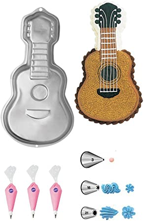 Wilton Guitar Cake Pan Bundle of 7 Items Guitar Cake Pan, Decorating Tips and Decorating Bags