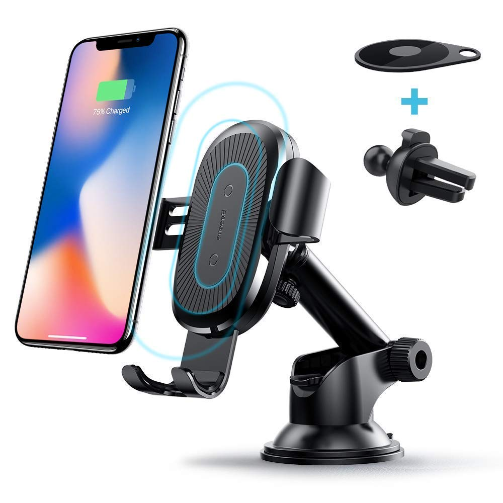 Wireless Car Charger, Baseus 2-in-1 Dashboard and Air Vent Gravity Phone Holder Car Mount 10W Charge for Samsung Galaxy S8, S7/S7 Edge, Note 8 5, Standard 5W Charge for iPhone X, 8/8 Plus WXHSD-01