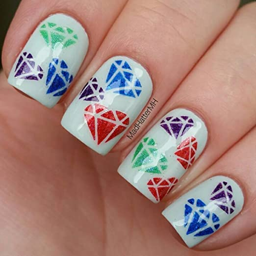 Whats Up Nails Diamond Gemstone Nail Stencils Stickers Vinyls For