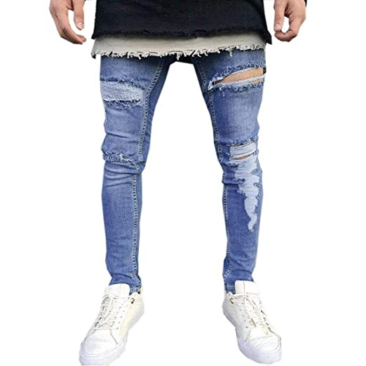 9092fc68 iMakcc Men Distressed Skinny Fit Ripped Zipper Jeans Destroyed Skinny Feet  Denim Pants (S,
