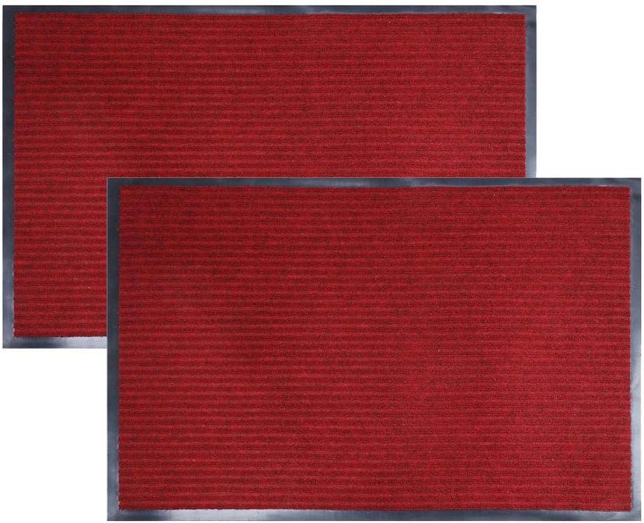 fani 2 Pcs Heavy Duty Large Outdoor Indoor Entrance Doormat Waterproof Low Profile Entrance Rug Front Door Mat(Red, 23x35inch)