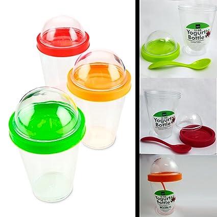Amazon Com 1 Yogurt Bottle Cup Storage Container Spoon Cereal Fruit
